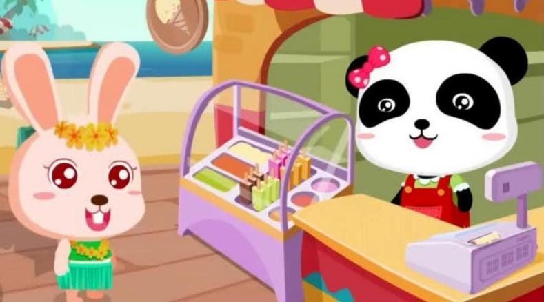 玩游戏学英语可爱熊猫卖冰淇淋一起学习制作水果冰淇淋儿童英语abc少儿英语abc