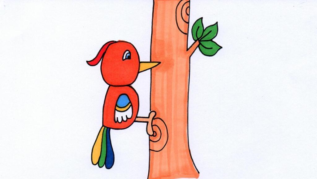 打开 打开 勤劳的啄木鸟卡通简笔画 打开 一只啄木鸟 不过太小看不清