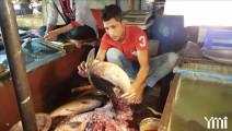 印度海鲜市场卖鱼小贩!镰刀切鲫鱼秒杀一切中国厨师!