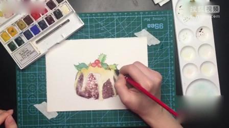打开 水彩画的熊猫教程 打开 水彩画 滴着奶油的蛋糕,祝大家圣诞嗨森
