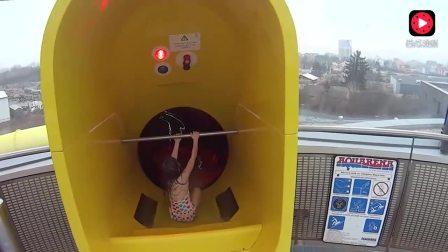 国外可怕的黑洞水滑梯, 都不知滑哪里去, 你敢玩吗?