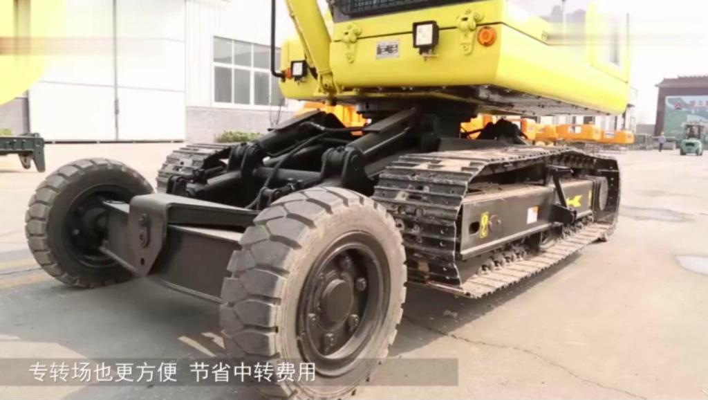 全球首创轮胎和履带合体的挖掘机,轮胎不要还可以拆掉