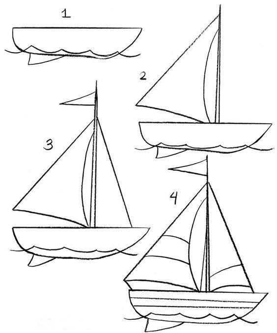 儿童简笔画: 苹果,帆船,长颈鹿,小鱼,小花