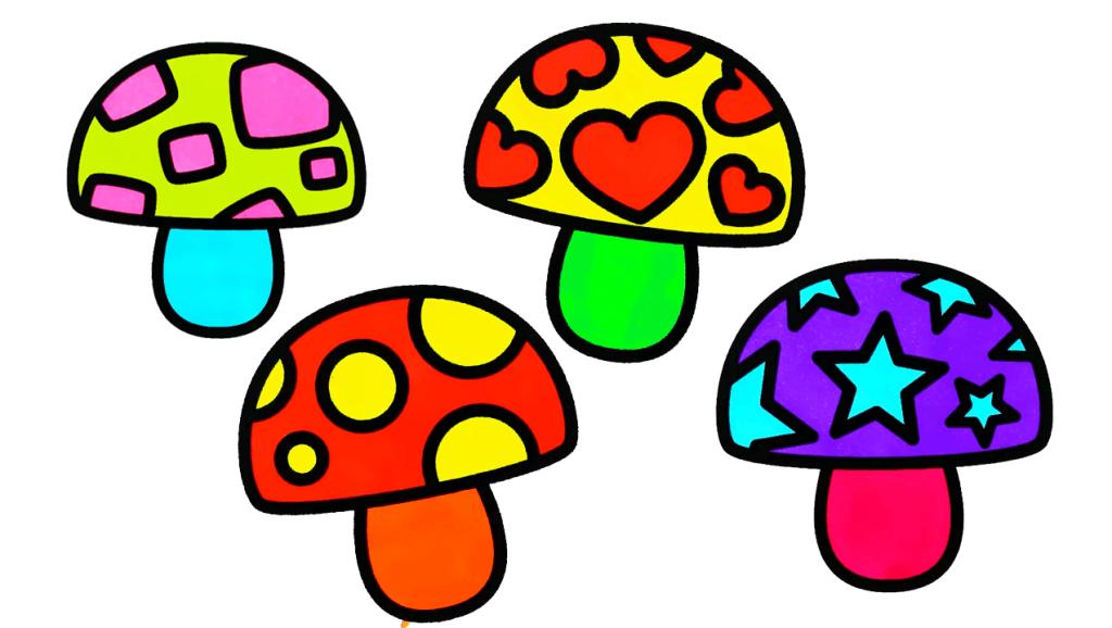 打开 亲子早教学画画,正方形圆形心形星星图案七彩蘑菇简笔画画法