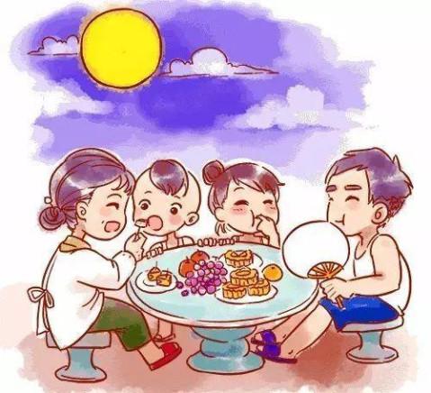 就勒场心浪吃夜饭,男女老少团团坐,一边吃月饼,芋艿,番芋,毛豆结,长生图片