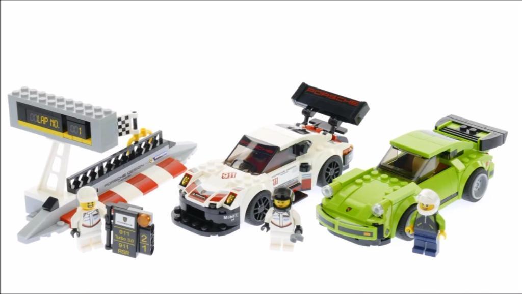 拼砌乐高积木超级赛车系列75888,保时捷911RSR和Turbo3.