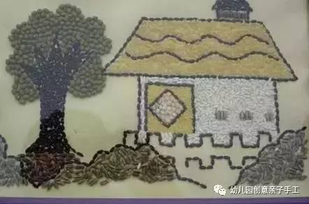 幼儿园豆子粘贴画