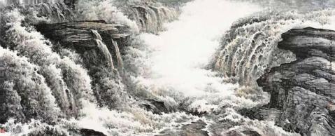灰色调的协调的关系等元素,注重画面整体的统一性,较好的丰富了山水画