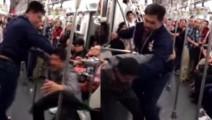 真实武术打斗!男子地铁车厢遭壮汉抽耳光辱骂,下一秒壮汉惨了