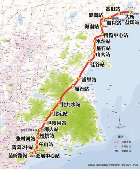 12号线:自黄岛区金沙滩景区,沿线主要经过安子居住片区,青岛理工大学