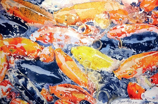 子青左: 爱上水彩爱上鱼, 于是如鱼得水