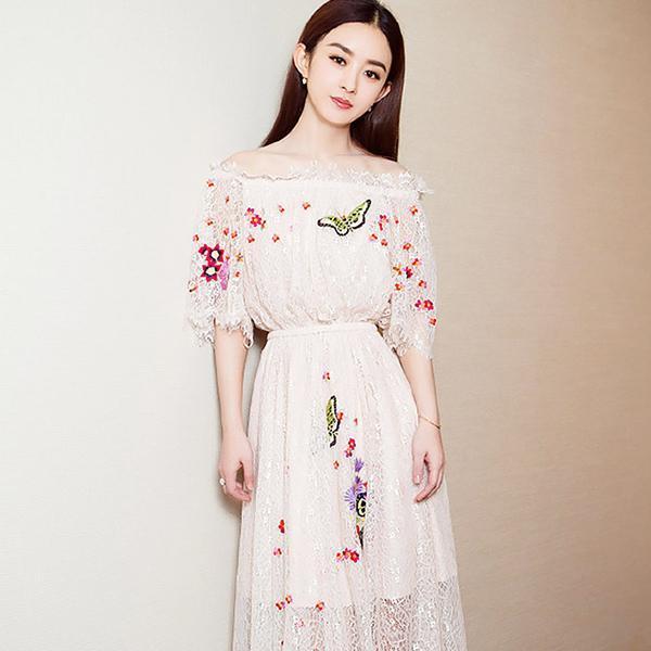 小可爱赵丽颖北影节, 把蕾丝连衣裙穿火了, 清新动人
