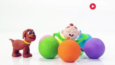 打开 打开 橡皮泥趣动画: 用橡皮泥小狗和小朋友玩彩色气球 打开