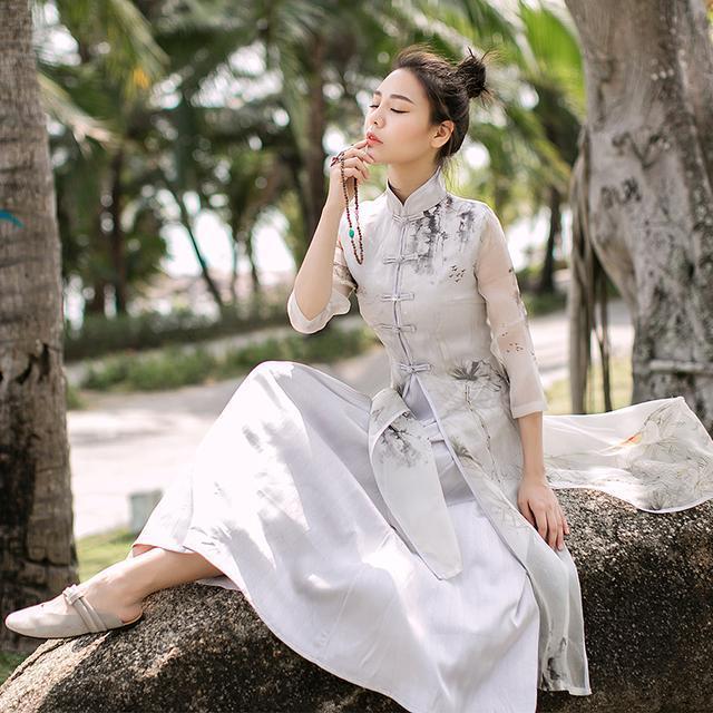 """姑娘不要穿韩版了, """"改良汉服""""才是17年的流行趋势, 优雅大方 5"""