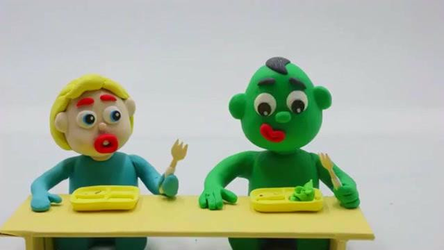 橡皮泥趣动画: 大吃货绿巨人成大胖子