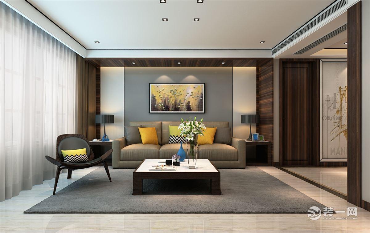 沙发后面的装饰画采用抽象派画作,金属色点睛,搭配暖黄灯光点亮了整个