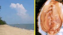 女子在海滩裸晒,下体却疑似被螃蟹当做生蚝挟伤