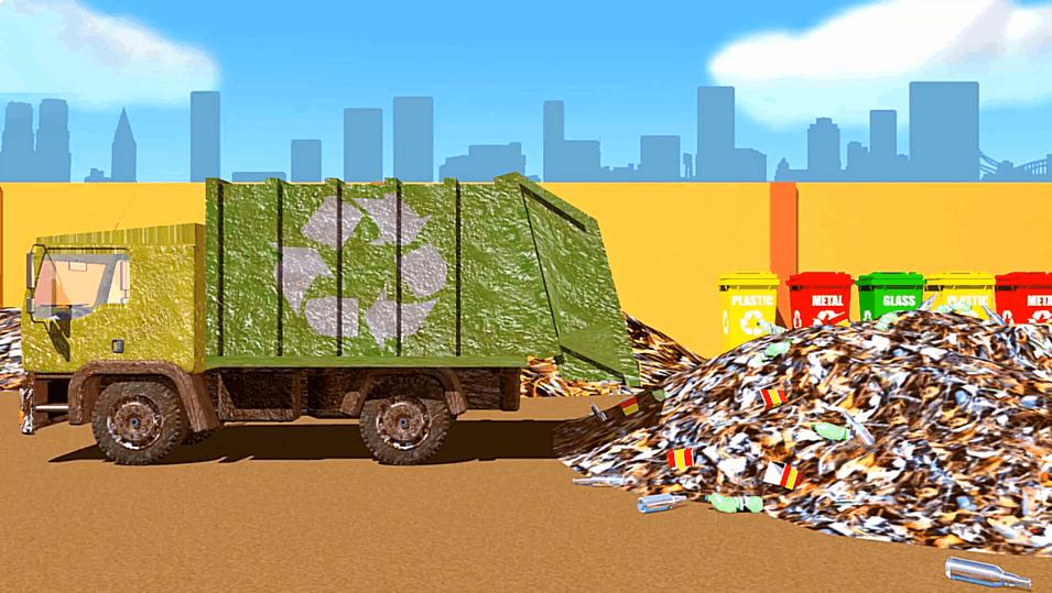 垃圾车 洗车 简笔画