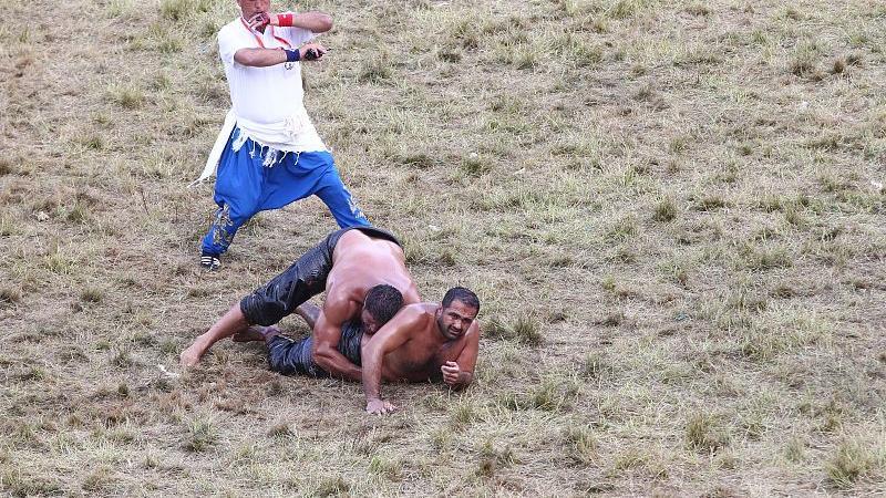 每年要用掉至少两吨的橄榄油 超劲爆土耳其猛男涂油摔跤大赛