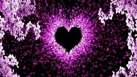 婚庆-唯美梦幻爱心紫色粒子不断繁衍散发光慢 婚礼led背景视频素材