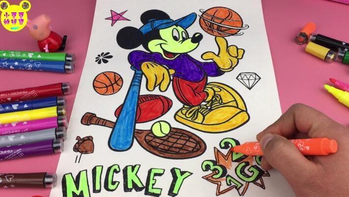 打开 打开 小猪佩奇学画画 迪士尼米老鼠涂颜色玩具 打开 粉红猪小妹图片