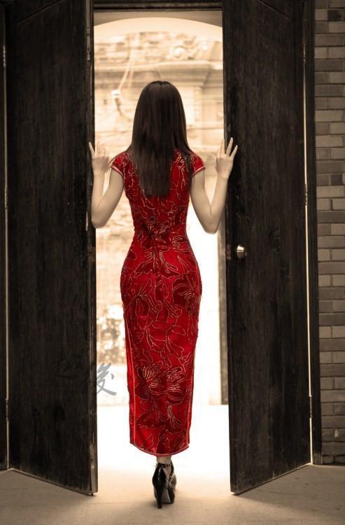 手绘南方旗袍姑娘背影