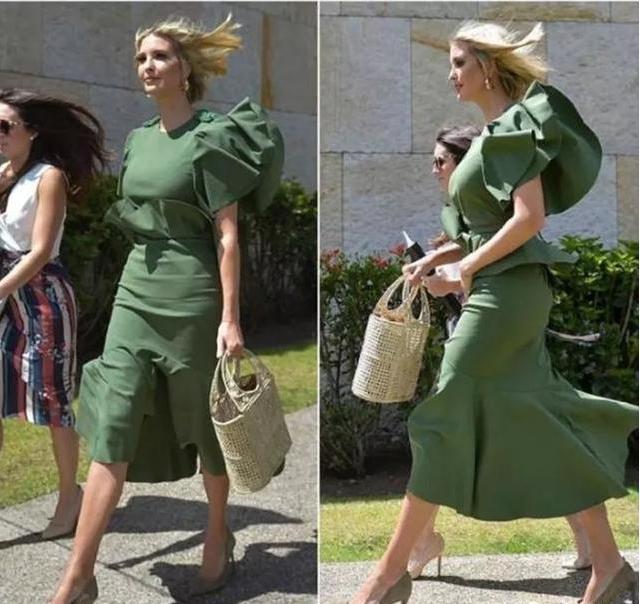 伊万卡撞衫凯特, 同样是绿色长裙, 才发现135斤和105斤的区别