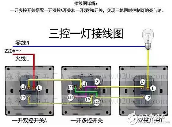 而双控开关接线跟上面的一样,按照上面的说明接线即可.