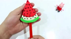 彩泥diy: 制作西瓜冰棒三色冰棒给小猪佩奇吃