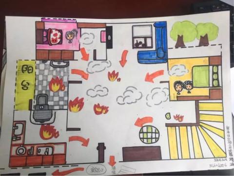 富有想象力个性鲜明构图新颖体现出各自家庭的消防疏散逃生路线