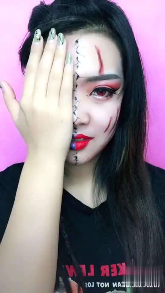 两面妆 中间画的裂痕