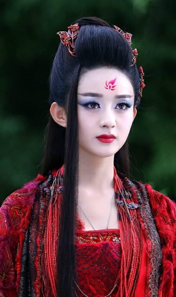 古装眉心印最美女星, 赵丽颖娇艳似火图片