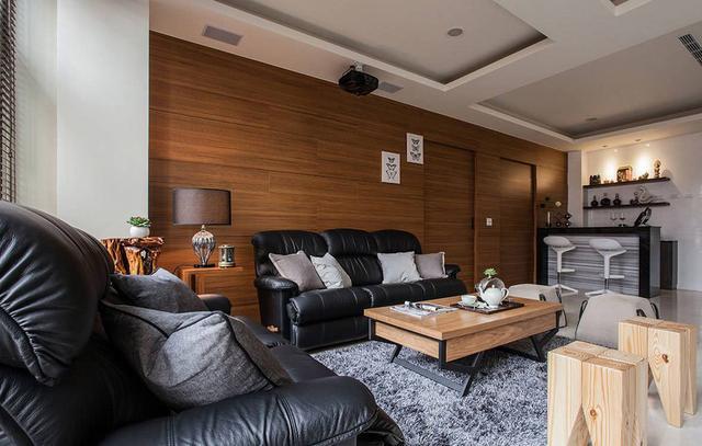 沙发背景墙用木地板