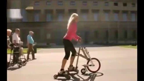 外国小哥发明新交通工具, 将轮滑与自行车结合, 酷到没朋友!