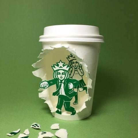 手绘纸杯创意图案