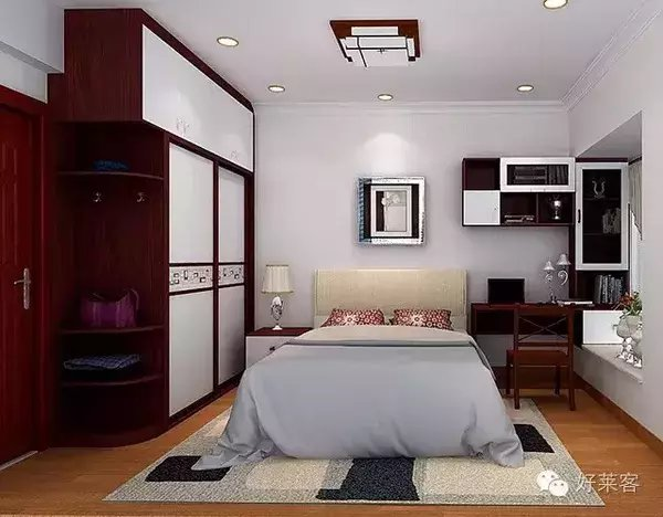 好莱客衣柜 红色系卧室, 飘窗是亮点