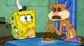 海绵宝宝教做汉堡, 可是假扮珊妮的痞老板一心想伺机偷走蟹煲秘方