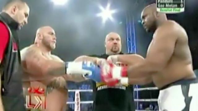 K1超重量级拳王争霸战!黑猩猩萨普惨遭KO,被打得呲牙咧嘴
