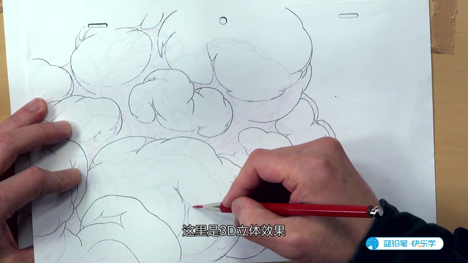 浆细胞红蓝铅笔手绘图