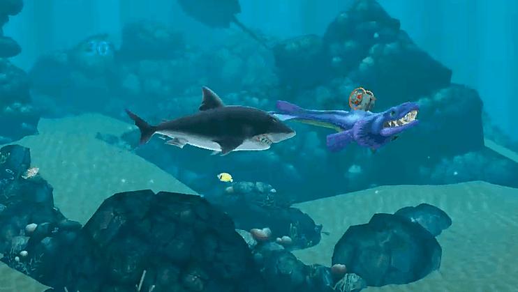 饥饿鲨进化: 进化后的残血艾伦鲨遇到巨齿鲨,结果会怎样?