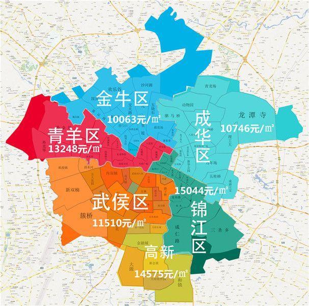 2017年1月成都房价地图 成都买房: 主城区房价涨跌图片