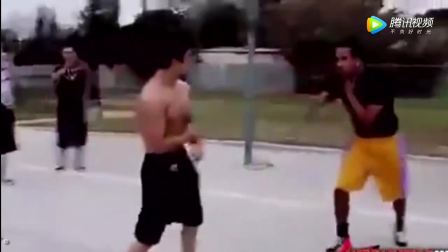 美国华人与黑人争执对决篮球场 华人暴揍黑人引发群架!