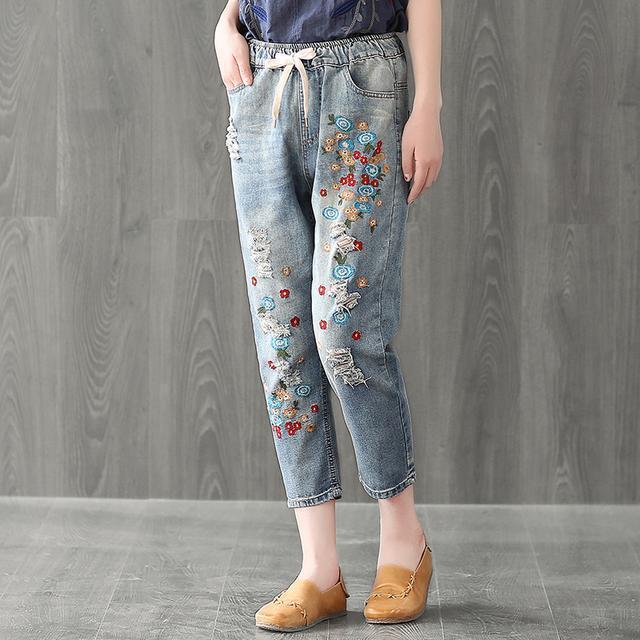 棉麻T恤+牛仔哈伦裤, 50岁的妈妈买了两套, 时尚也更年轻了 8
