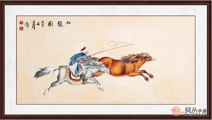 王建辉四尺横幅工笔动物画