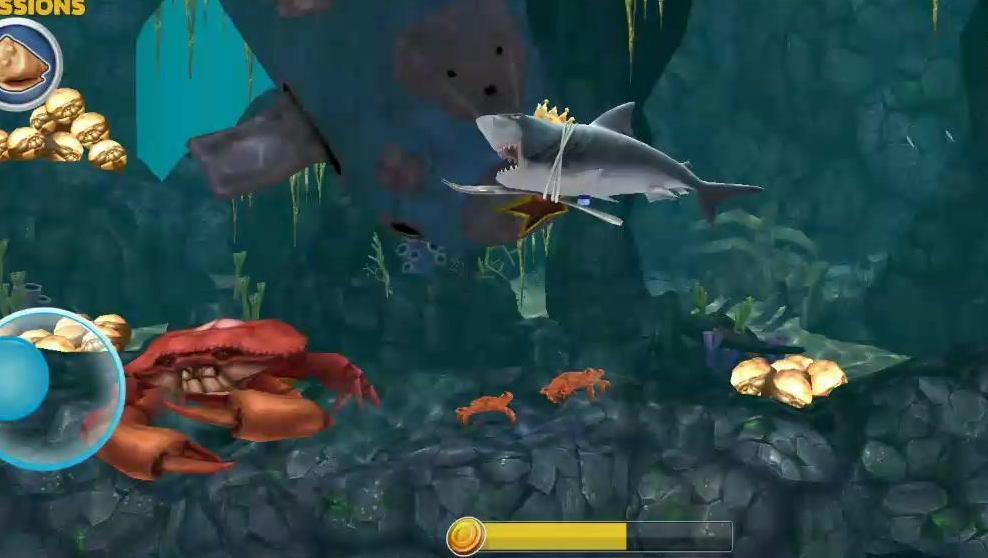 饥饿鲨进化: 三星进化巨齿鲨大战海底霸主大螃蟹,会赢吗?