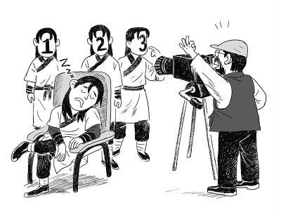 古装英雄背影漫画手绘