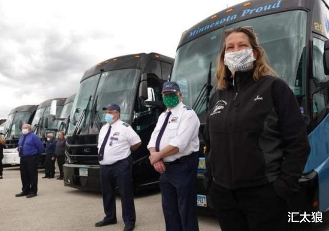 截止到5月21日,美国再次发出噩耗,美国上千辆巴士司机把车辆开到白宫门口(图2)