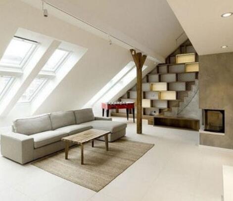 斜顶客厅背景墙效果图 阁楼创意客厅装修设计