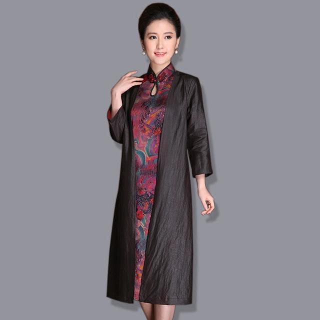 中年女装半身裙_开衫中长款莨绸桑蚕丝中老年女装七分袖真丝香云纱外套