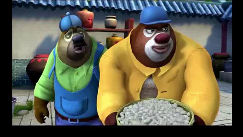 熊出没: 熊熊碾米打年糕,却连石磨都推不动